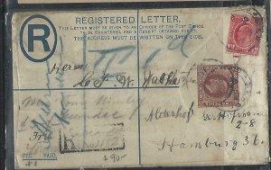 GOLD COAST (P2708B)  KE 1912 2D RLE +1D REG FROM SECONDI TO GERMANY