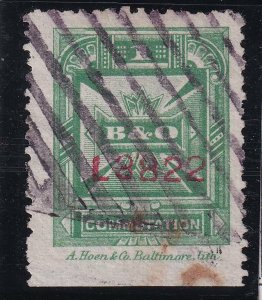 US STAMP BOB #3T11 – 1886 1c green, perf 12, A Hoen & Co. TELEGRAPH STAMP USED