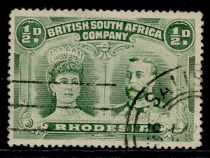 RHODESIA GV SG120, ½d bluish green, FINE USED.