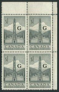 CANADA B.O.B. O32 MINT OVERPRINTED OFFICIAL BLOCK OF 4