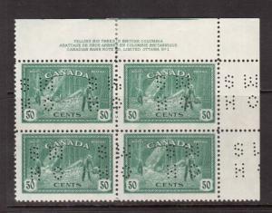 Canada #O272 VF Mint Plate #1 UR Block