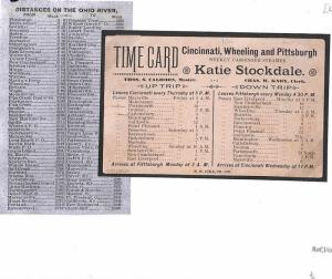 BE155 USA MARITIME Postcard PASSENGER STEAMER *Cincinnati Pittsburgh* Timetable