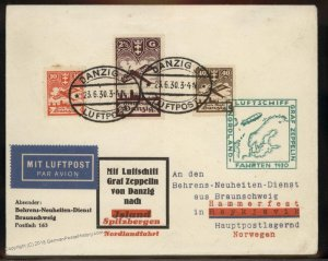 Danzig 1930 Graf Zeppelin Cover Si73 Spitzbergenfahrt Hammerfest Flown 93295