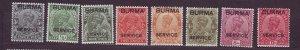 J23720 JLstamps various 1937 burma part of set mh #o1-up king ovpt,s