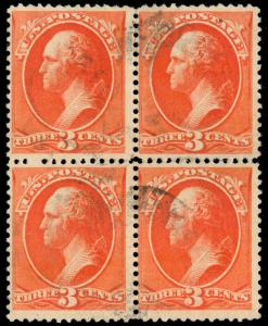 MOMEN: US STAMPS #214 USED SCARCE BLOCK SOUND