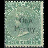 BERMUDA 1875 - Scott# 15 Queen Surch. 1p/1s LH