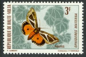 BURKINA FASO / UPPER VOLTA 1971 3fr BUTTERFLIES & MOTH Issue Sc 246 MNH