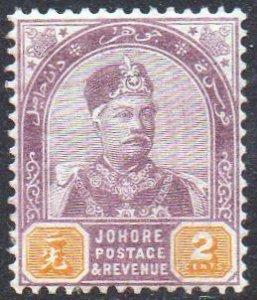 Johore 1891 2c dull purple and yellow MH