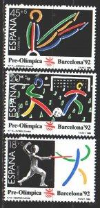 Spain. 1989. 2905-7. Barcelona Summer Olympics. MVLH.