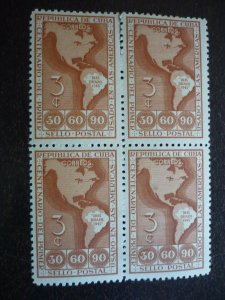 Stamps - Cuba - Scott# 393 - Mint Hinged Block of 4 Stamps