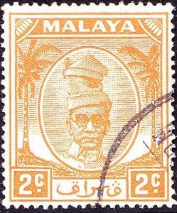 MALAYA PERAK 1950 2c Orange SG129 FU