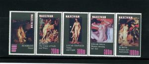 Naxcivan Republic 1997 Nudes Paintings Strip (5) Perforated mnh.vf