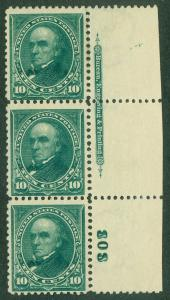 EDW1949SELL : USA 1895 Sc #273 Mint PO Fresh PL# Strip of 3 w/ perfect NH gum.