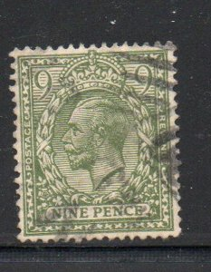 Great Britain Sc 183 1922 9d olive green George V stamp used