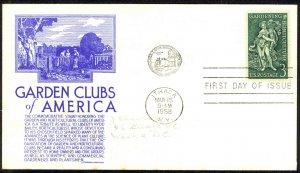 USA Sc# 1100 C.Stephen Anderson cachet FDC (a) Ithaca,NY 1958 3.15 Garden Clubs