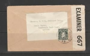 Ireland 1942 Censored cover to London, Examiner 667 label,