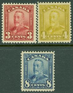 EDW1949SELL : CANADA 1928-29 Unitrade #151, 52, 54 All Very Fine, MNH. Cat $230.