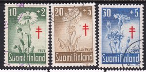 Finland 1959 Flora - Tuberculosis Fund Complete Used Set SC B154-B156