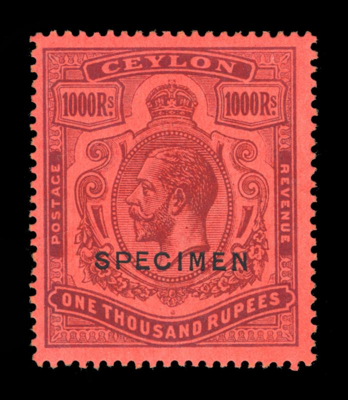 CEYLON  1925  KGV 1000r violet, red  Scott# 218 mint MH VF  SPECIMEN - Rare