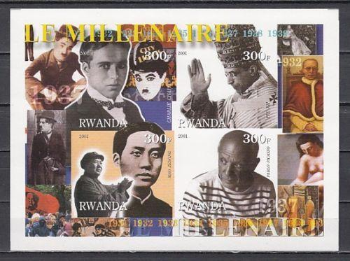 Rwanda 2001 Millennium Famous People Mao Tse Tung Politician Stamps MNH imperf