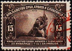 Yugoslavia. 1921 15+15p S.G.179 Fine Used