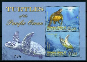 Micronesia Stamps 2009 MNH Turtles of Pacific Green Sea Hawksbill Turtle 2v S/S