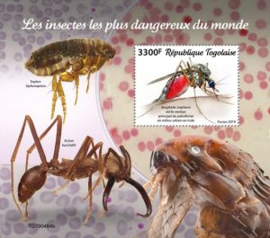 TOGO - 2019 - Most Dangerous Insects in the World - Perf Souv Sheet  - M N H