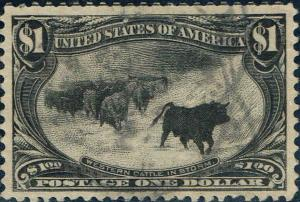 #292 1898 $1 WESTERN CATTLE IN STORM TRANS-MISS ISSUE USED--VF+  LITE CANCEL