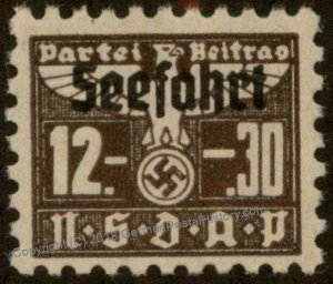 Germany NSDAP Party 12.30 Reichsmark Dues Seefahrt Sea Travel Stamp 96219