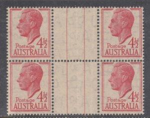 AUSTRALIA 1950 SG 248 4-1/2d GV1 Gutter Block of 4 folded MNH