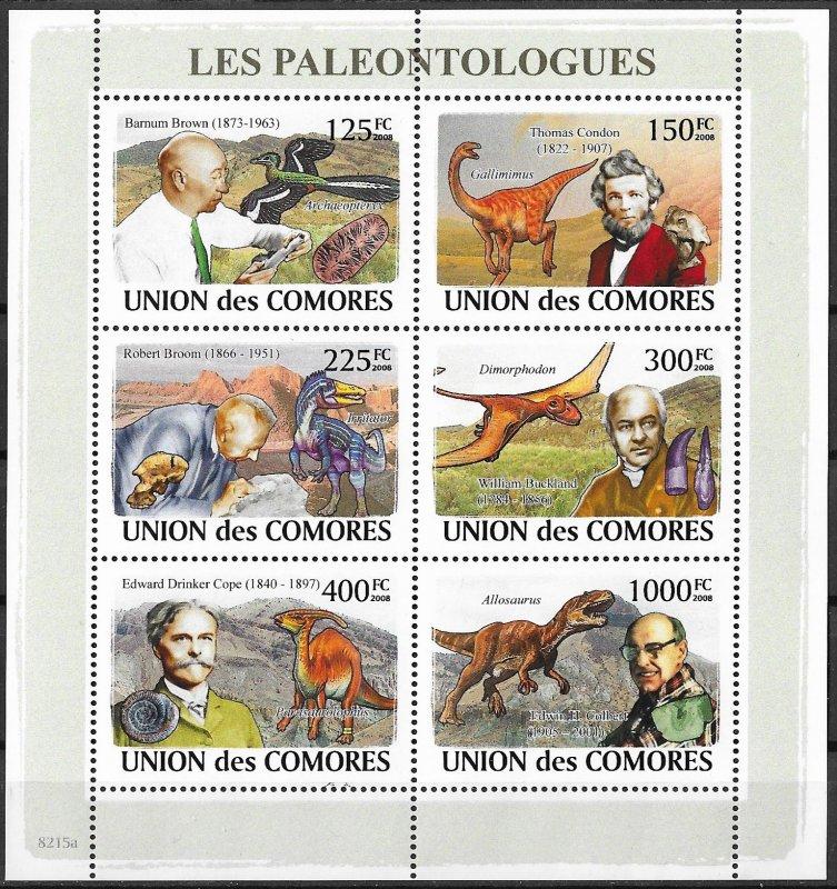 Comoro Islands MNH S/S Prehistoric Animals 2009  6 Stamps