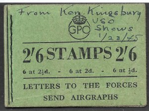 Doyle's_Stamps: Great King George VI 1944 WWI Booklet -- Missing Only 1 Stamp