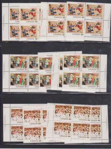Canada USC #1040-1042 Mint MS Imprint Blocks VF-NH 1984 Christmas