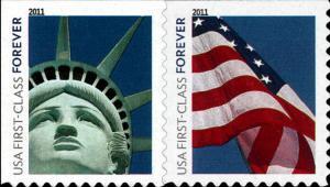 2011 44c Lady Liberty and Flag, Pair Scott 4518-19 Mint F/VF NH