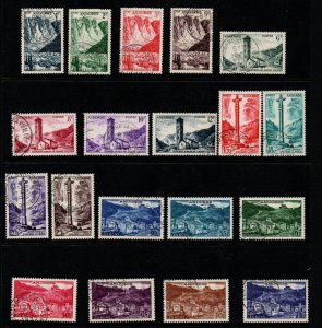 Andorra (Fr) Sc 124-42 1955-58 Views long stamp set used