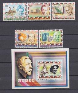 Z4124, 1977 burkina faso set + s/s mnh #440-5 nobel prize