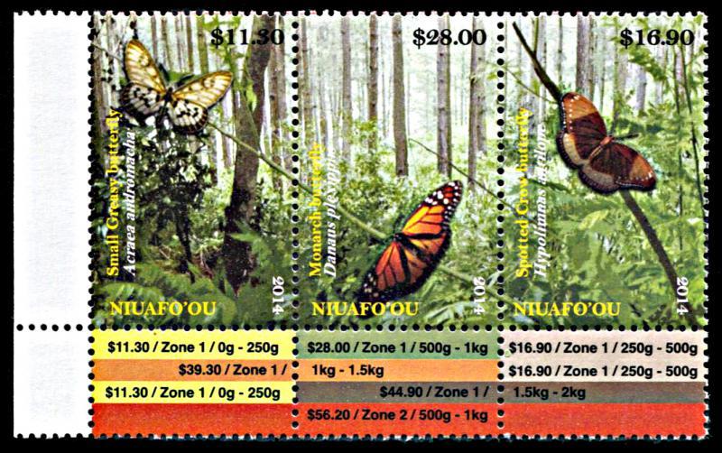 Niuafo'ou 321, MNH, Butterflies strip of 3