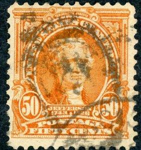 #310 – 1903 50c Jefferson, orange.  Used Heavy Cancel.