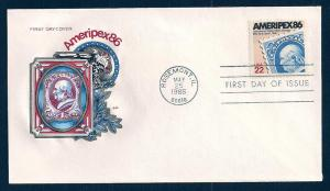 UNITED STATES FDC 22¢ Ameripex 1985 Farnam