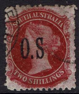 SOUTH AUSTRALIA 1891 QV OS 2/- ERROR NO STOP AFTER S PERF 11.5 - 12.5 USED