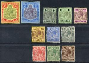 MALTA SCOTT #49/54 &   58/62    MINT HINGED --SCOTT VALUE $236.15