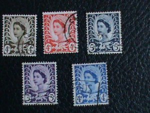 Wales & Monmouth Stamp:1958-69- SC#7-11 very old used Stamps