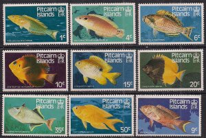 Pitcairn Islands 1984 QE2 Short Set 9 Fish stamps to 50cts Umm SG 246 - 254 (...