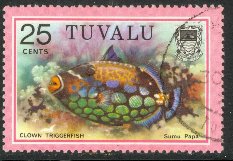 TUVALU 1979 25c CLOWN TRIGGER FISH Marine Life Issue Sc 105 VFU
