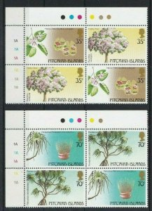PN148) Pitcairn Islands 1983 Trees Series I MUH blocks of 4