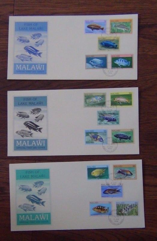 Malawi 1984 Fish of Lake Malawi set on First Day Cover (3 Covers)