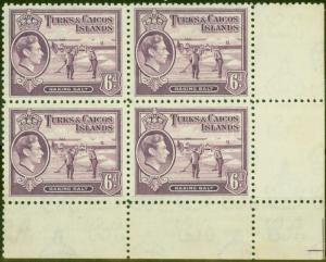 Turk & Caicos Is 1938 6d Mauve SG201 Fine MNH Block of 4