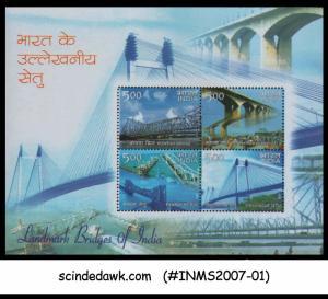 INDIA - 2007 LANDMARK BRIDGES OF INDIA HOWRAH VIDYASAGAR GANDHI PAMBAN - M/S MNH
