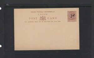 LAGOS POSTAL STATIONARY 1D OPT ON 1/2D UNUSUED