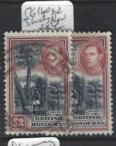 BRITISH HONDURAS  (PP2802B)  KGVI $2.00   SG 160X2 SHADES   VFU
